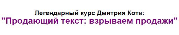 Практический курс от Дмитрия Кота Продающий текст: взрываем продажи