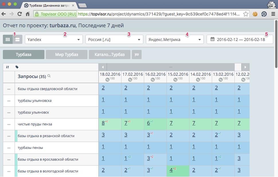 Гостевая ссылка в модуле Позиции - сервис Топвизор