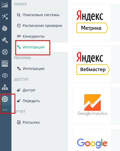 Интеграция Топвизор с Яндекс.Вебмастер, Google Search Console, Яндекс. Метрикой, Google Analytics