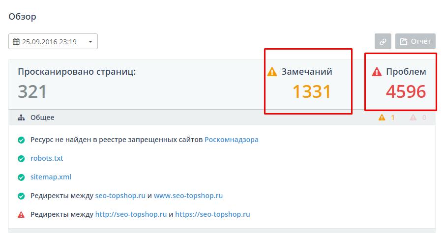 Топвизор - анализ моего сайта