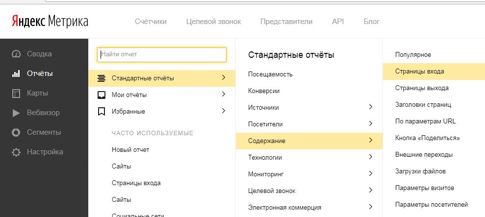 Яндекс Метрика - смотрим самые трафиковые страницы из поиска