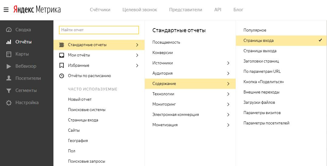 Страницы входа в Яндекс Метрике