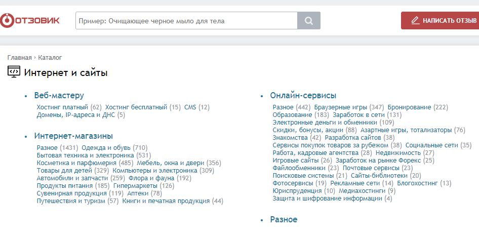 раздел Сайты в отзовиках, где можно написать отзыв о любом интернет-проекте