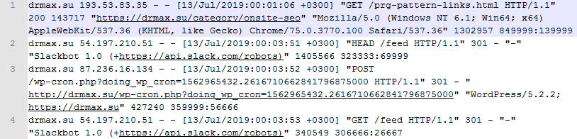 Сырой log-файл представляет собой мешанину упорядоченных данных