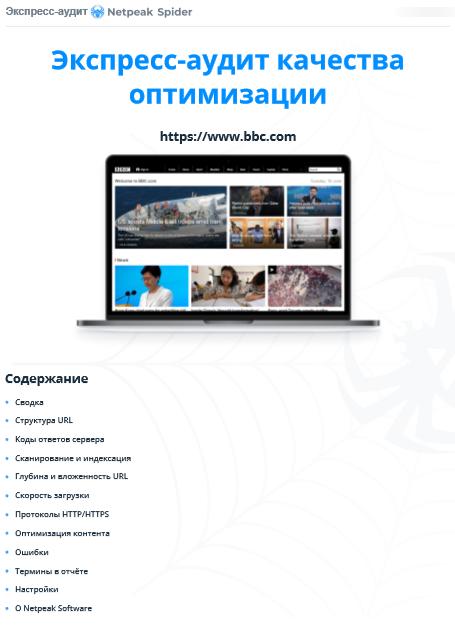 Экспресс-аудит в PDF в Netpeak Spider