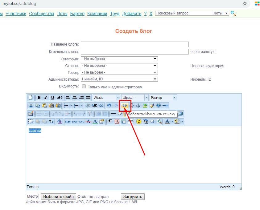 панель визуального редактирования - размещение в блоге